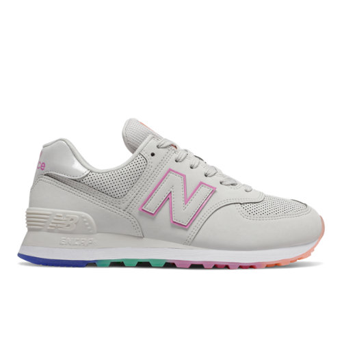 New Balance 574 Women's Lifestyle Shoes - Grey / Pink (WL574SOL)