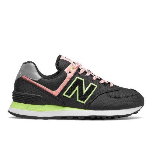 New Balance 574 Women's Lifestyle Shoes - Black / Pink (WL574WB2)