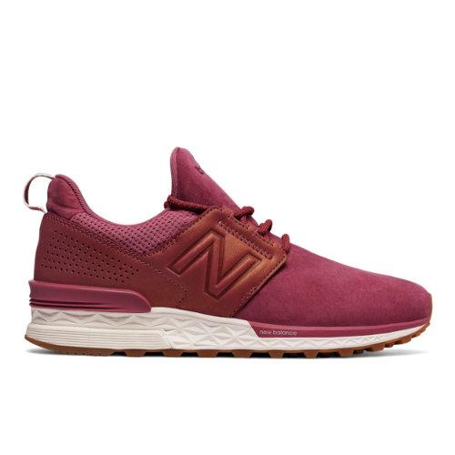 New Balance Nubuck 574 Sport Women's Sport Style Sneakers Shoes - Dark Red (WS574DP)