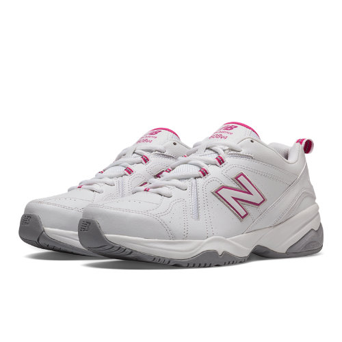 New Balance 608v4 Women's Everyday Trainers Shoes - White, Exuberant Pink (WX608V4P)