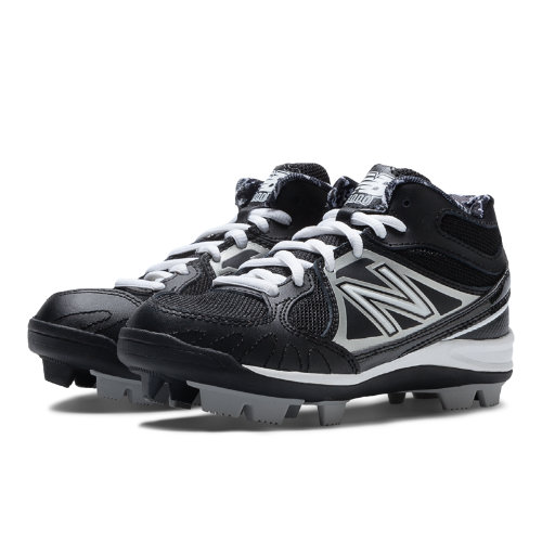 New Balance Mid-Cut 3000 Rubber Molded Cleat Kids Grade School Sports Shoes - Black / Silver (YB3000MS)