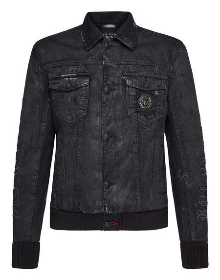 """Philipp Plein Men's Denim Jacket """"GOTHIC PLEIN"""""""
