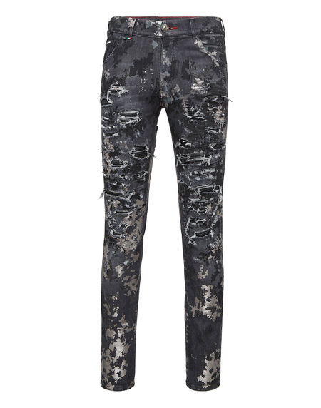 """Philipp Plein Men's Jeans """"PAINTED"""" Distressed Camouflage"""
