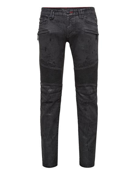 """Philipp Plein Men's Biker Jeans """"GOTHIC PLEIN"""" Denim"""