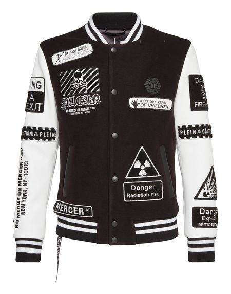 "Philipp Plein Jacket ""GOTHIC PLEIN"" Patches Men's Bomber"