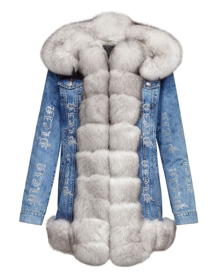 """Philipp Plein Women's Denim Jacket """"CRYSTAL PLEIN"""""""