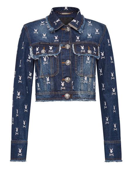 "Philipp Plein Denim Jacket ""PLAYBOY"" Women's Collection"