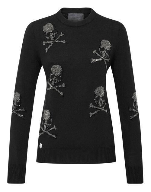"Philipp Plein Women's Knit Pullover ""SKULL CRYSTALS"""
