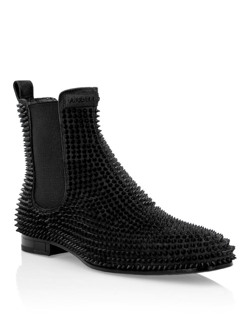 "Philipp Plein Men's Boots ""Black Studs"""