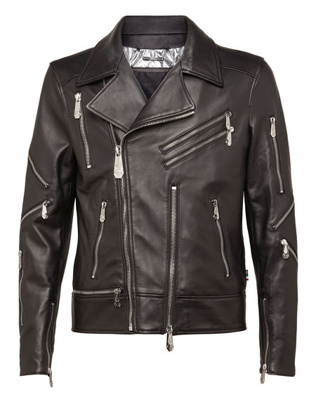 "Philipp Plein Men's Leather Biker Jacket ""BELIEVER"""