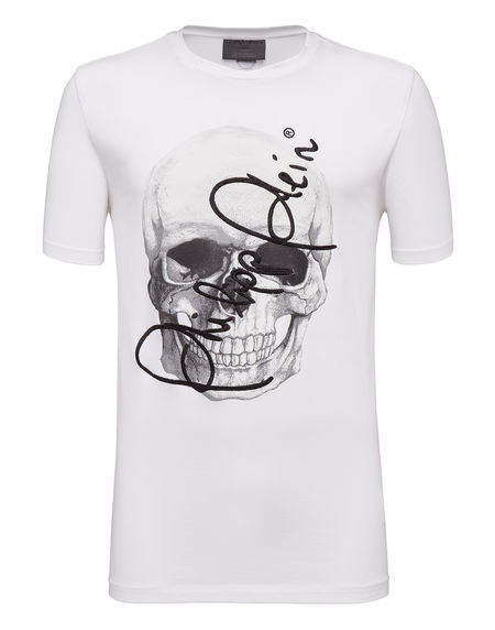 "Philipp Plein Men T-Shirt ""SOMETHING"" Signature Skull"
