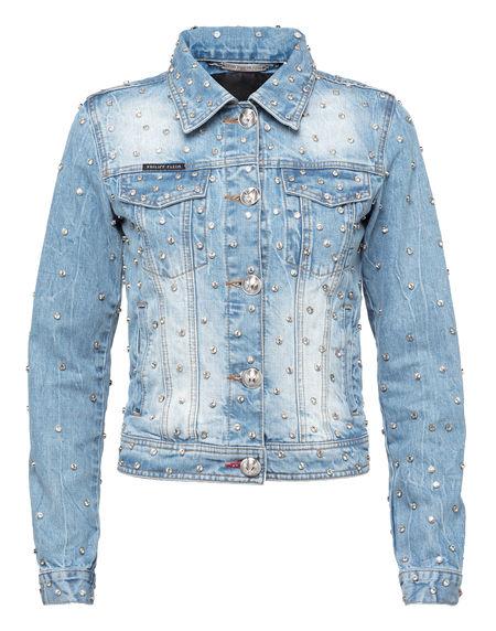"""Philipp Plein Women's Denim Jacket """"CRYSTALS MIND"""" Blue"""