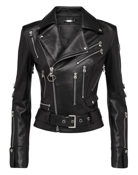 """Philipp Plein Women's Leather Biker Jacket """"DARK"""""""