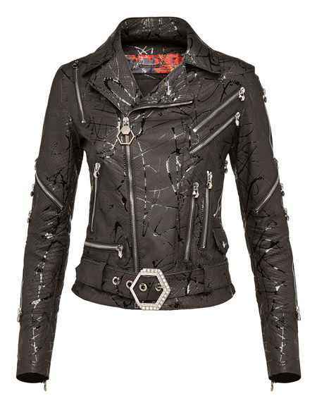 "Philipp Plein Leather Jacket ""REACH THAT"" Women"