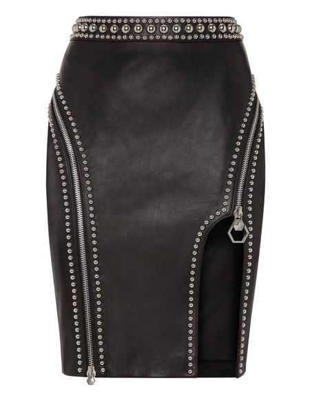 "Philipp Plein Leather Skirt ""CRAZY SHAPE"" Studded"