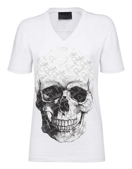 "Philipp Plein Women's T-Shirt ""CRYSTAL AND SKULL"" White Top"