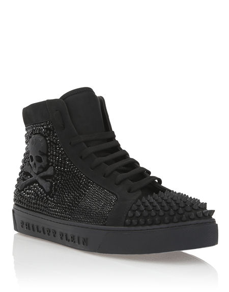 "Philipp Plein Men Sneakers ""BRODEUR"" Skull Hi-Tops"