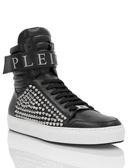 "Philipp Plein Men's Sneakers ""ERNIE"" Studded Hi-Tops"