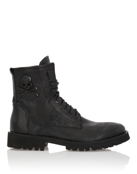 "Philipp Plein Men's Combat Boots ""ROCK MAN"" Skull"