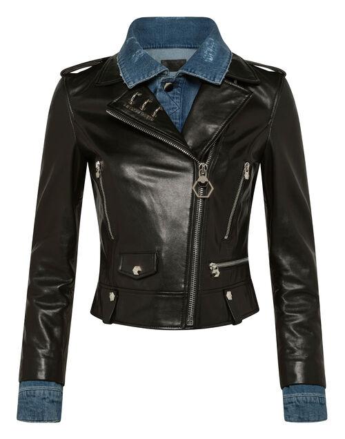 "Philipp Plein Leather Jacket ""DENIM BIKER SKULL"""