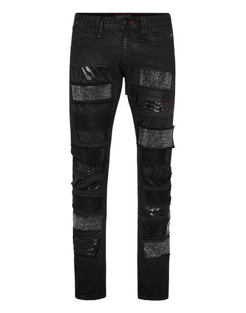 "Philipp Plein Men's Jeans ""Milano Supernova Crystal Patchwork"""