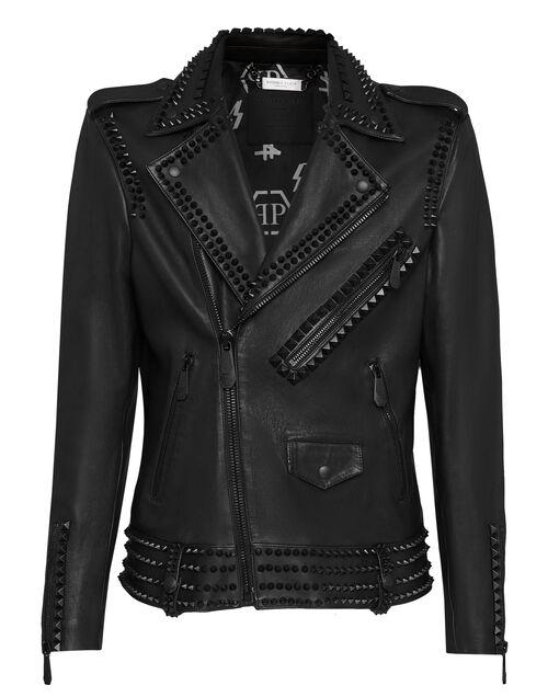 "Philipp Plein Men's Leather Jacket ""Biker Black Studs"""