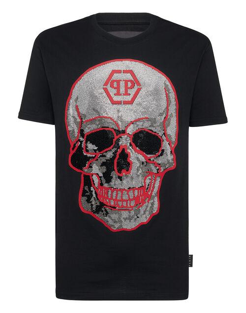 "Philipp Plein Men's T-Shirt ""Black Crystal Skull Top"""