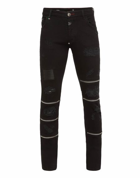 "Philipp Plein Men's Jeans ""ZIP ME"" Black Straight Fit"