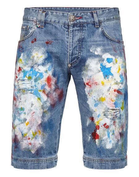 "Philipp Plein Denim Bermuda Jeans ""ODYSSEY"" Shorts"