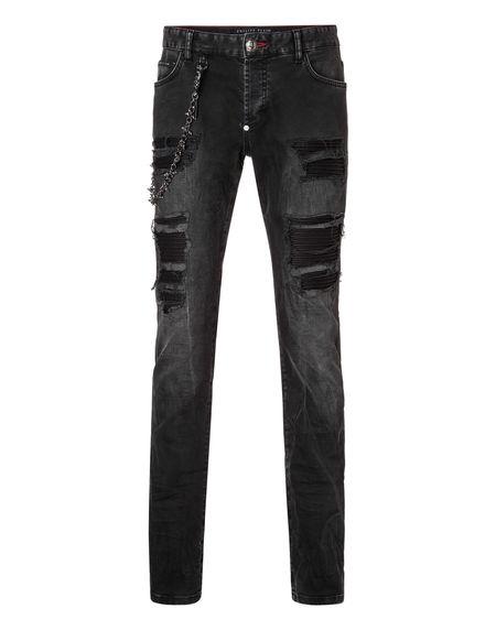Philipp Plein Fashion Show Distressed Denim Jeans