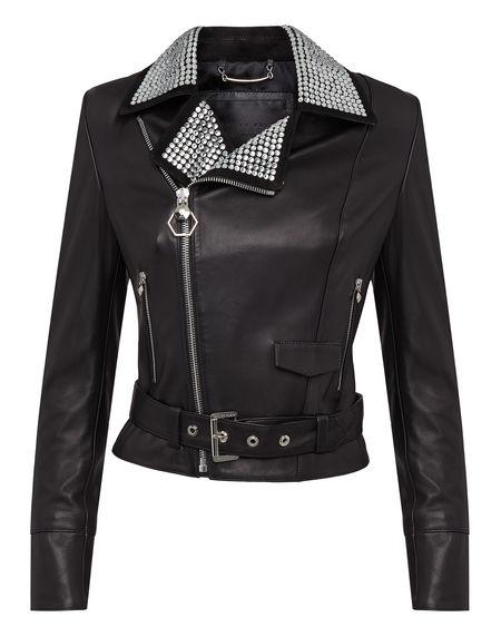 "Philipp Plein Leather Biker Jacket ""JEWELL"""