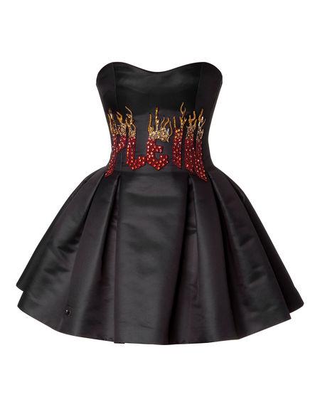"Philipp Plein ""WE SHOULD TAKE IT FAR"" Strapless Duchess Mini Dress"