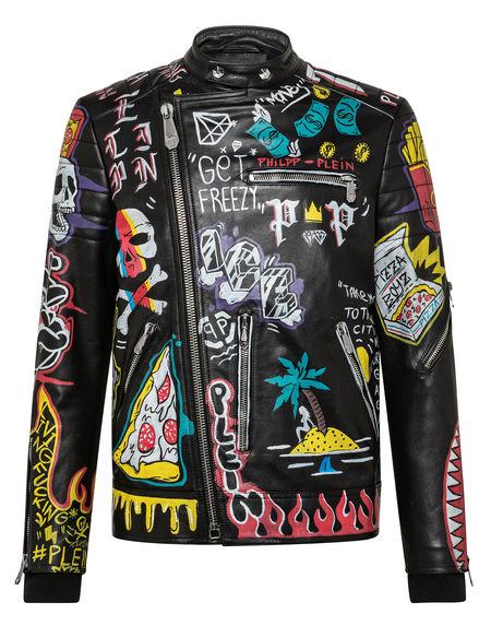 "Philipp Plein Leather Jacket ""PIZZA BOY"""