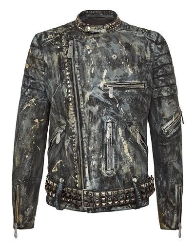 "Philipp Plein Leather Jacket ""Edgy Biker"""