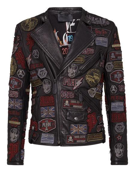 "Philipp Plein Men's Leather Jacket ""BIKER PATCHES"""