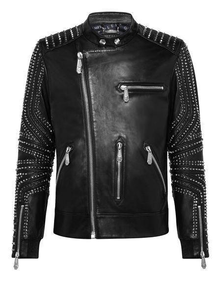 """Philipp Plein Men's Leather Jacket """"Studs"""""""