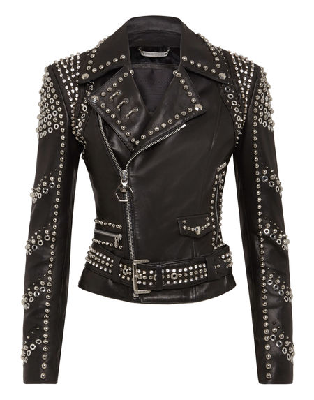 "Philipp Plein Leather Jacket ""BIKER STUDS"" Women's Luxury Fashion"