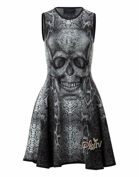 "Philipp Plein Women ""LAREE GRAIG"" Skull Knit Dress"