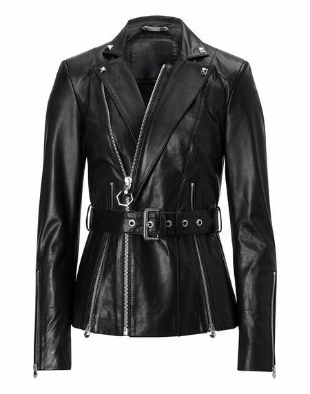 "Philipp Plein Women ""APRILE FERGUSON"" Leather Jacket"