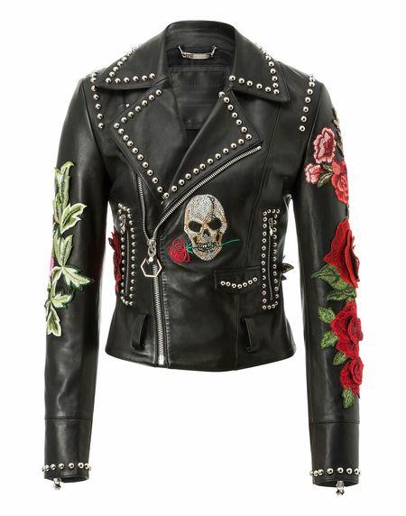 "Philipp Plein ""CAROLE GUADO"" Skull Leather Biker Jacket"