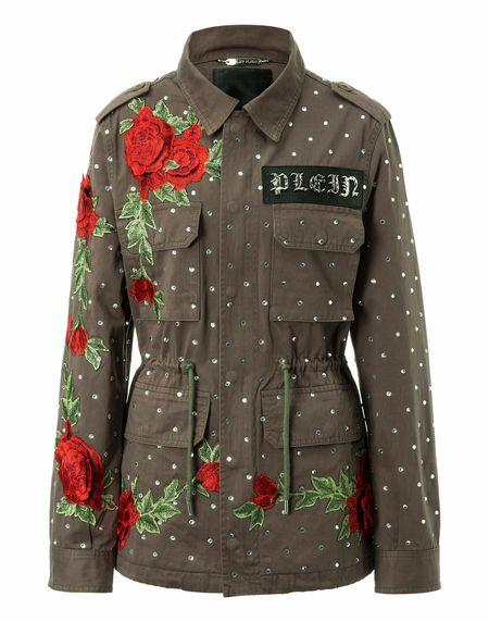 "Philipp Plein Women's Military Parka Jacket ""DEAREST ONE"" Patchwork"