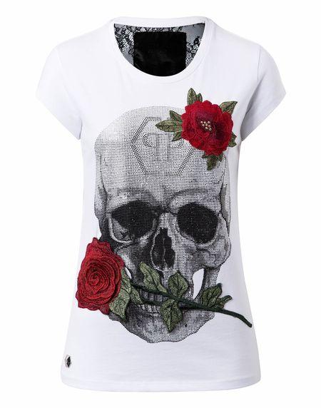 "Philipp Plein Women ""JENKINS MALLORY"" Skull Roses White T-Shirt"