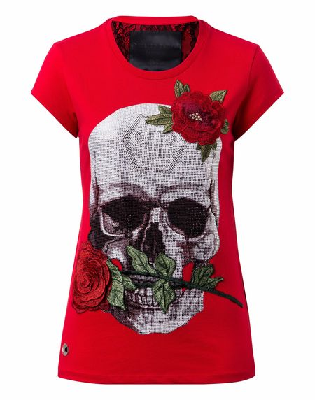 """Philipp Plein Women """"JENKINS MALLORY"""" Skull T-Shirt"""