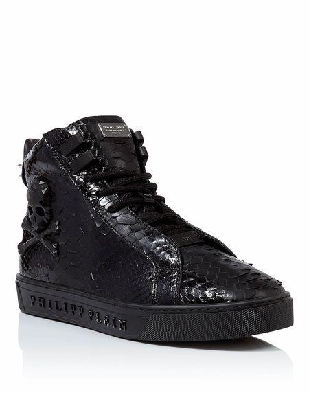"""Philipp Plein Men """"EMERALD"""" Skull Hi-Top Sneakers"""