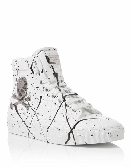 """Philipp Plein Men """"THE WAVE"""" Skull Hi-Top Sneakers"""