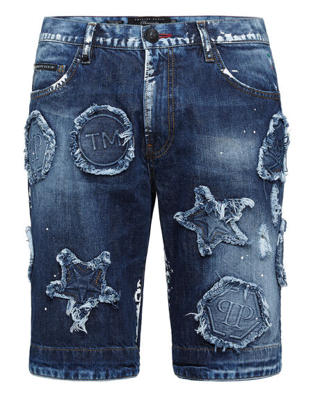 "Philipp Plein Men's Denim Shorts ""PATCHES"""
