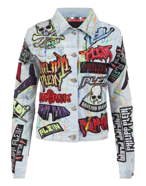 "Philipp Plein Denim Jacket ""ROCK PP PATCHWORK"""