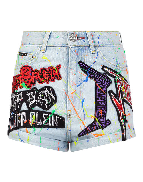 "Philipp Plein Women's Denim Shorts ""Rock Patches"""