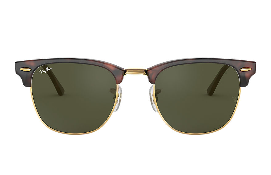 Ray-Ban Clubmaster Classic Tortoise, Green Lenses - RB3016