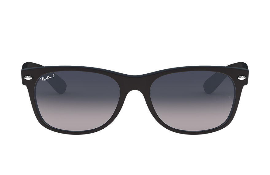 Ray-Ban New Wayfarer Matte Low Bridge Fit Black, Polarized Blue Lenses - RB2132F